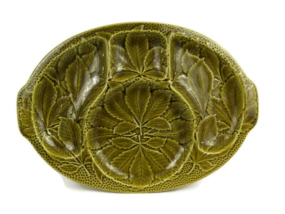 French Gien Green Majolica Leaf Plate. Serving Platter and Snack Dish.