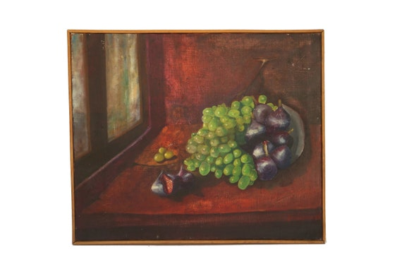 Fruit Still Life Oil Painting with Grapes and Figs, Original French Kitchen Art and Wall Decor