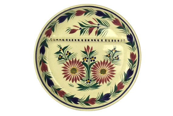 Quimper Pottery Asparagus Wall Plate, Hand Painted French Breton Faience