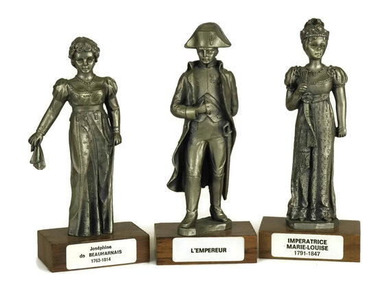French Vintage Pewter Napoleon Bonaparte, Josephine & Empress Marie-Louise Figurines, French Military Decor