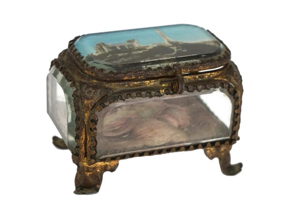 Antique French Glass Casket Jewelry Box,  Lyon Souvenir Box