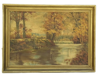 Autumn Landscape Painting. Forest River Painting. Original Art. French Landscape Art in Gold Frame.  Pastoral Painting Oil on Canvas