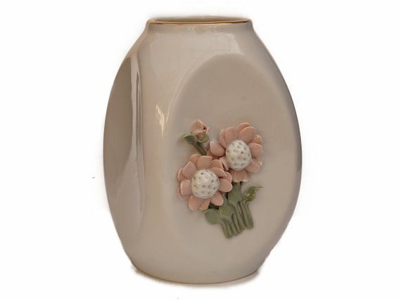 Vintage CMielow Porcelain Vase with Pink Daisy Flowers