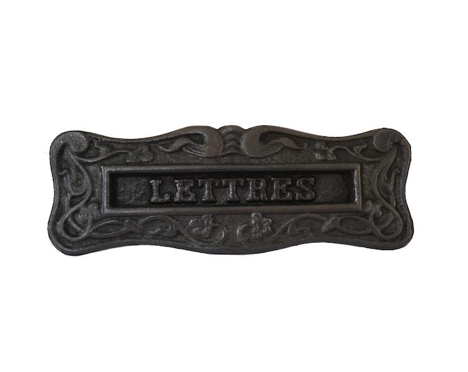 Antique French Letter Box Flap, Art Nouveau Mailbox Slot Cover
