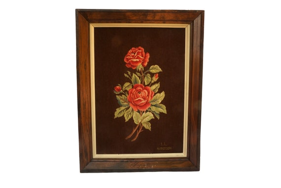 Aubusson French Needlepoint Tapestry with Red Rose, Framed Flower Wall Hanging Art