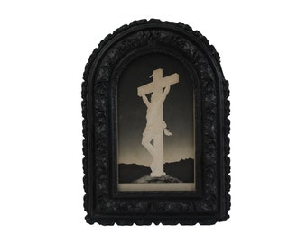 Antique Crucifixion of Jesus Christ Art Print in Black Gothic Frame, French Christian Wall Hanging and Home Decor