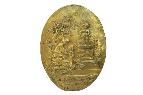 Antique French Brass Wall Plaque, Cherub Wall Hanging Medallion with Mother and Child Portrait