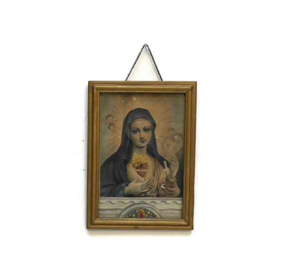 Flaming Heart of Mary Engraving, Framed Religious Hand Colored Illustration, French Antique Madonna
