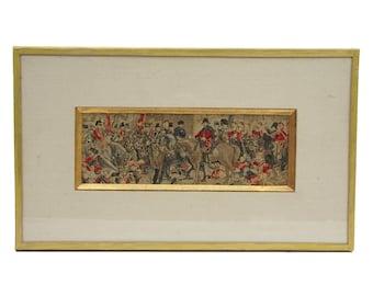 "Antique Framed Stevengraph "" Wellington and Blucher "", 19th Century British Military Collectible, Woven Silk Fiber Art"
