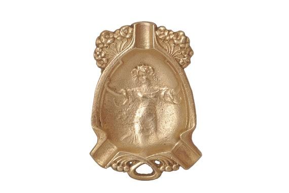 Art Nouveau Gilt Bronze Ashtray, Antique Coin Dish with Belle Epoque Lady Maiden Portrait