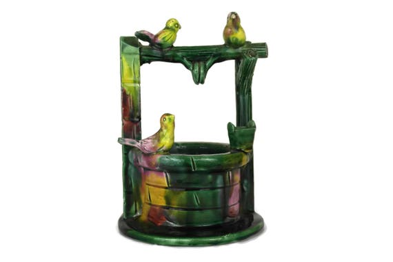 Green Majolica Birds and Wishing Well Vase. Vintage French Vallauris Pottery. Mid Century Ceramic Vase.