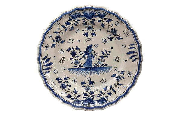 RESERVED for Alan. French Faience  Kitchen Wall Plate, Hand Painted Blue and White Moustiers Ceramic Dish