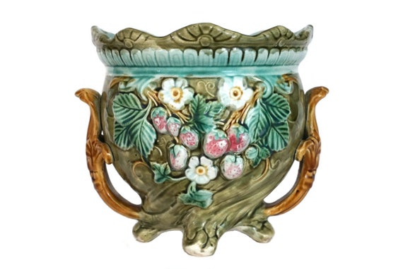 Antique French Majolica Planter with Strawberries, Ceramic Flower Vase and Pot Plant Holder
