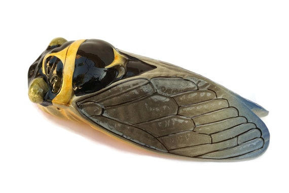 French Ceramic Cicada Wall Figurine, Vintage Insect Ornament, Provence Front Door Decor