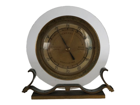 French Mid Century Brass Barometer Weather Station