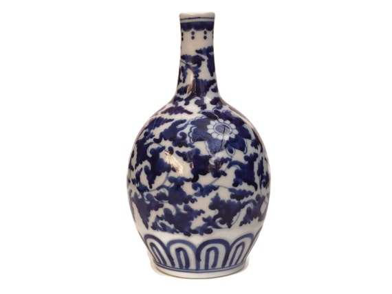 Vintage Japanese Tokkuri Sake Bottle, Hand Painted Blue and White Porcelain Stem Vase, Asian Home Decor and Barware