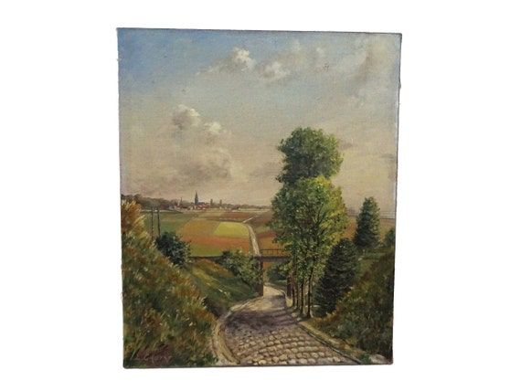 French Country Landscape Painting with Village and Bridge, Original Signed Art