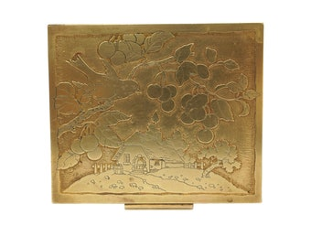Art Deco Brass Vanity Powder Compact and Engraved Country Cottage, Bird and Cherry Tree