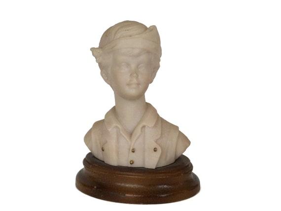 Boy Portrait Bust Figurine, Vintage Child Head Statue