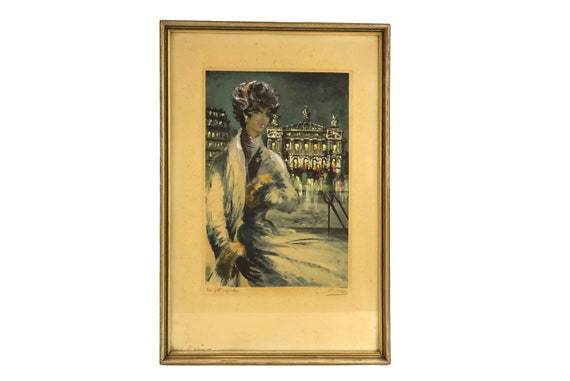 Vintage 1950s Woman Etching Print, French Art with Paris Opera House
