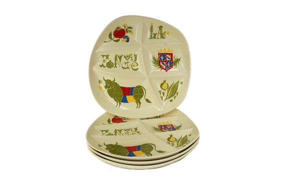 Vintage French Ceramic Fondue Plates, Set of 4 Retro Divided Compartment Dishes