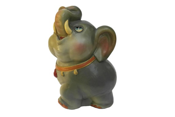Vintage Baby Elephant Coin Bank, Ceramic Money Box, Collectible Dumbo Figurine