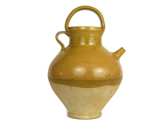 French Stoneware Wine Jug. Half Glazed Ocher Ceramic Urn. French Provencal Decor. Foodie Gift