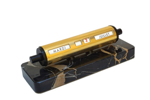 Art Deco Perpetual Desk Calendar with Black Marble Base, French Office Accessory and Decor