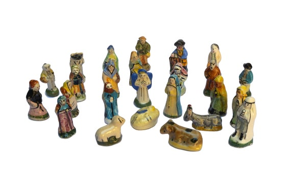 French Feves Christmas Manger Scene Nativity Set, 25 Miniature Ceramic Figurines, Holiday Decor and Ornaments