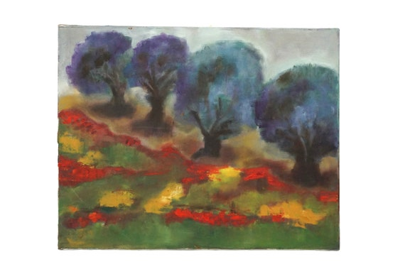 French Country Landscape Painting with Trees and Wild Flowers, Original Scenic Art