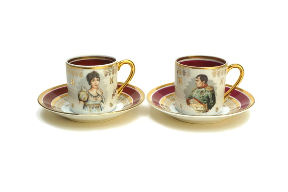 Napoleon and Josephine Bonaparte Espresso Cup Set, French Empire Style Porcelain