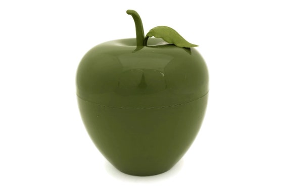 Retro Apple Ice Bucket. Vintage Avocado Green Plastic Fruit. French Bar Decor. Cocktail Party Barware.