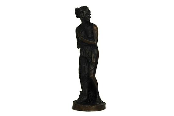 French Vintage Bronze Reproduction Statuette, Venus Italica by Antonio Canova, Naked Woman Figurine