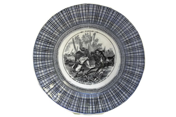 French Antique Military Transferware Plate by Vieillard Bordeaux, Collectible Faience Wall Plate & Kitchen Decor