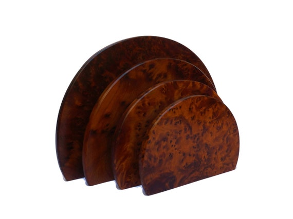 Art Deco Walnut Wood Letter Rack Holder and Mail Organizer