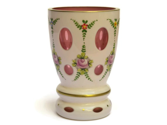 Vintage Bohemian Crystal Vase with Hand Painted Flowers. Cased Glass Vase White Cut to Pink.
