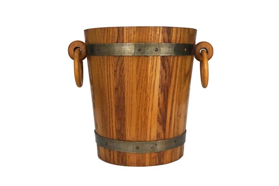 Wooden Oak Barrel Ice Bucket, Vintage French Champagne and Wine Bottle Chiller