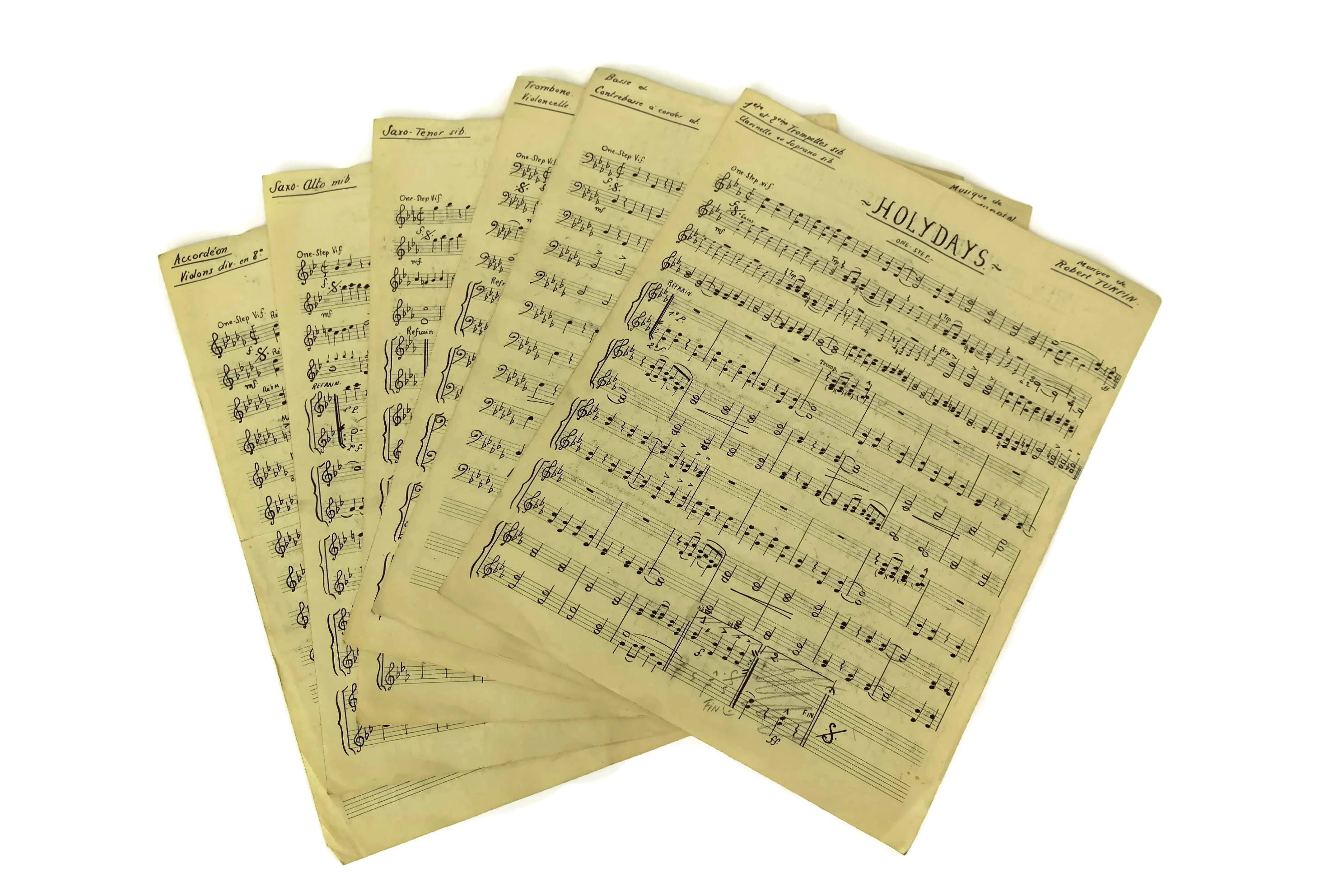 Old Music Sheet Paper Pages. Handwritten Musical Notes Craft Sheets ...