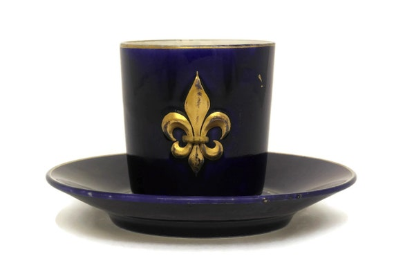 Antique French Cobalt Blue Fleur de Lys Coffee Cup.