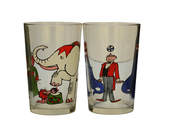 Circus Comic Strip Glasses by Cabu, Pair of Vintage French Water Tumblers