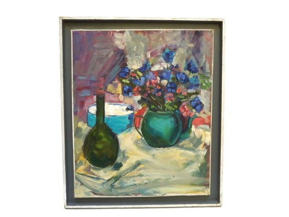 Wild Field Flowers Still Life Painting with Bottle and Teapot, Original Flower Art