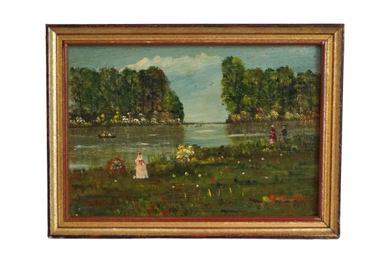 French Country Landscape Painting with River and Wild Flowers, Original Signed Art Marie Jose Jouana