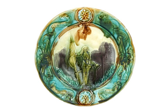 Saint Joan of Arc Plate, Antique French Jeanne d'Arc Majolica Wall Decor