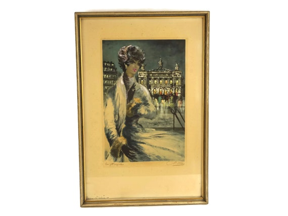 1950's Woman Portrait Print with Paris Opera House