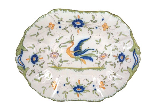Moustiers French Faience Platter with Hand Painted Bird and Flowers, Pottery Oval Wall Hanging Plate