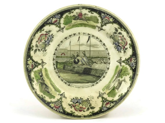 Antique French Equestrian Transferware Plate with Ladies on Horseback