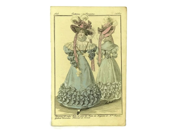 Antique French Fashion Illustration Engraving, 1828 Plate from Costumes Parisiens, Ready To Frame Art, Fashionista Gift