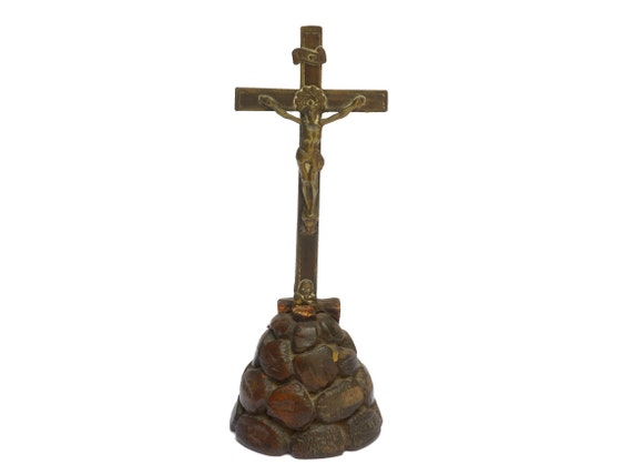 French Antique Standing Crucifix, Calvary Cross Christian Decor and Gifts