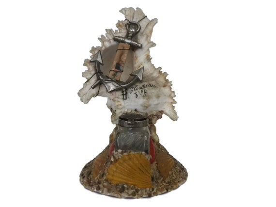 Antique Seashell Art Inkwell, French Sea Shell Souvenir