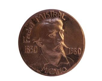 Frederic Mistral Portrait Bronze Medal, French Provencal Book Lover Gift